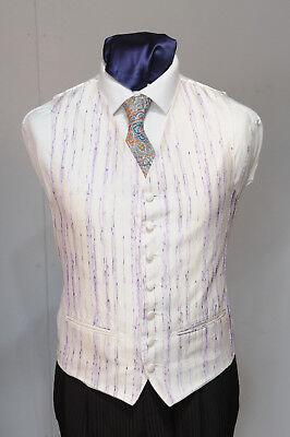 W - 1022 Ivory Waistcoat Purple Thread Pattern / Suit / Party / Formal Harmonische Farben