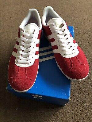 Adidas Gazelle Rouge & Blanc à Rayures Baskets Taille 9 | eBay