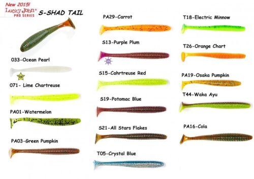 "7 leurres souples S-shad Tail 2,8/"" LUCKY JOHN 7cm pêche bass perche sandre pike"