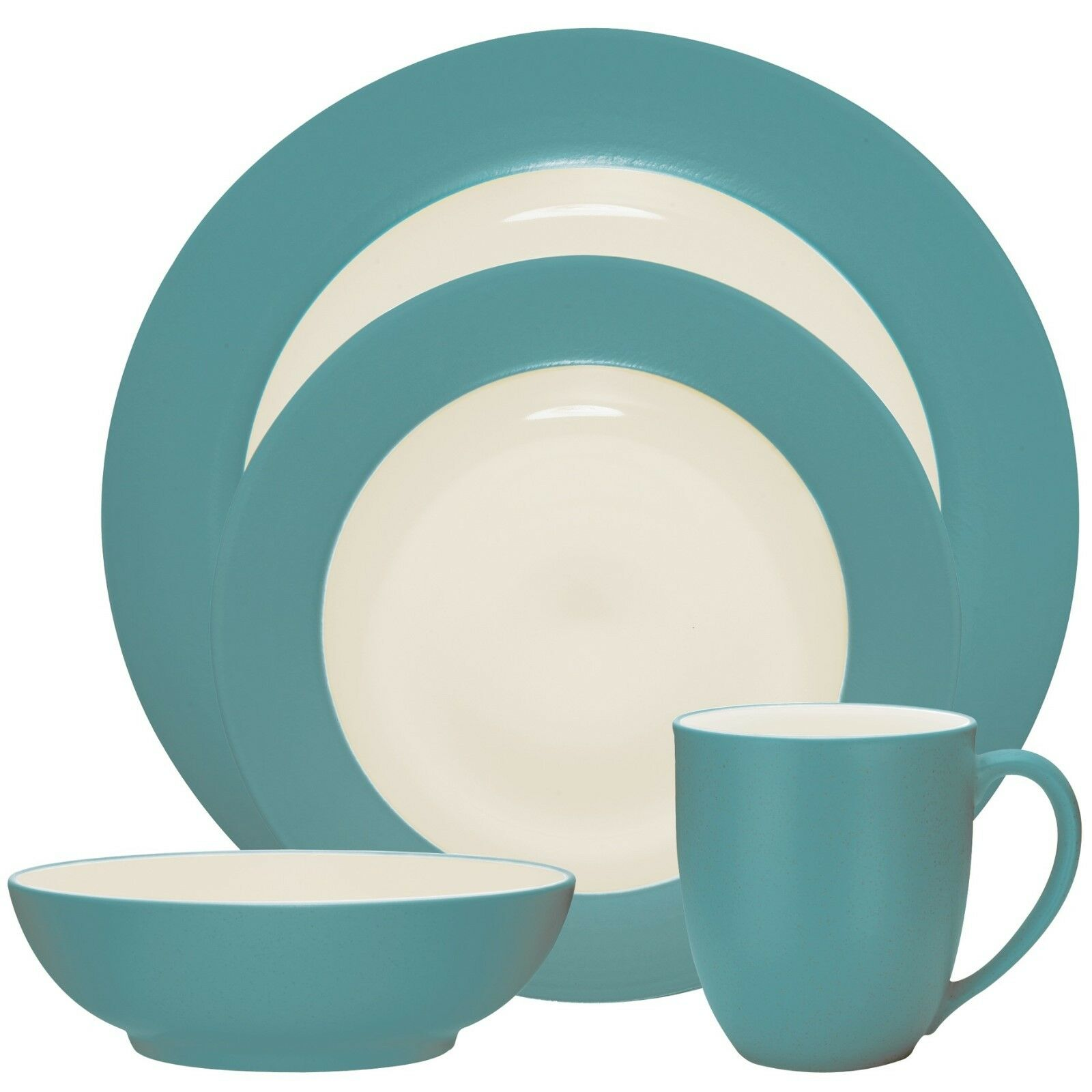 Noritake Couleurwave Turquoise Rim 32Pc Dinnerware Set, Service for 8