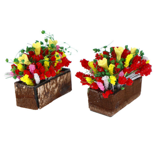 1//12 Dollhouse miniature plant multicolor flower with wood pot garden accessory`