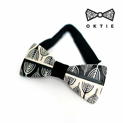 OKTIE Wood Bowtie Handmade Bow Tie Handcrafted-Acrylic painting Pattern