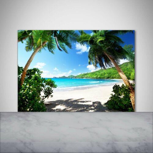Details about  /Kitchen Back Splash Protection Glass 100x70 Deco landscapes Seychelles Beach show original title