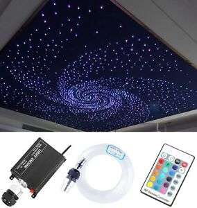 Details About 12v 16w Rgb Led Fiber Optic Star Ceiling Light Kit 260pcs 2m 0 75mm Home Car
