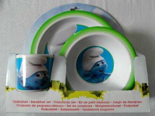 Plaque Ensemble de petit déjeuner Schtroumpfs 3pc-mélamine repas-culbuteur Bowl