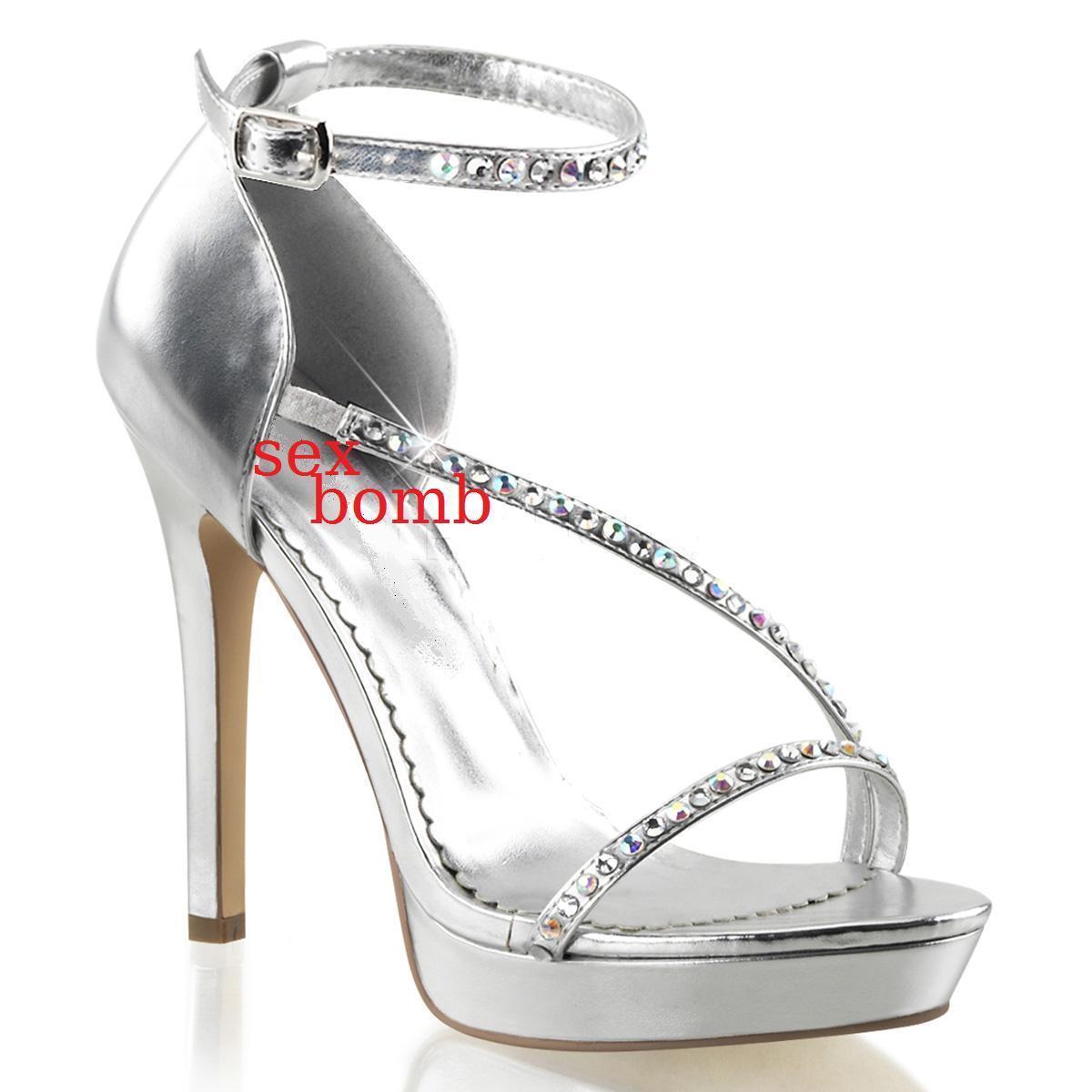 Sexy Sandals Rhinestone Heel 12 from 35 to 41 Silver Platform Strap Glamour