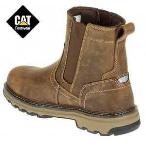 f03728c3480 MENS CATERPILLAR CAT LEATHER SAFETY DEALER STEEL TOE CHELSEA SLIP ON ...