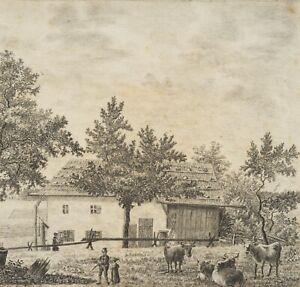 X.MESSERT (19.Jhd), Ländliche Szene auf einem Bauernhof,  1825, Bleistift