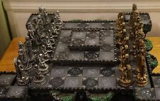 Beautiful Collectible Gothic Reaper Skeleton Undead Lighted Castle Chess Set