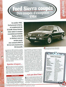 Ford-Sierra-Coupes-XR4i-V6-1984-UK-Germany-USA-Car-Auto-Voiture-FICHE-FRANCE