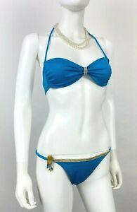 La Perla Italie 6 US 44 It M Bleu Or Maillot 2 PC Ensemble Bikini Haut Défilé