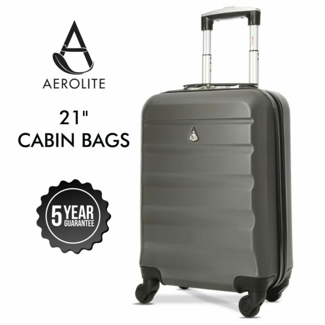 Aerolite 55x35x20cm Cabin Carry On Lightweight Hand Cabin Bag Suitcase Charcoal