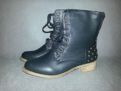 Damen Boots Siefel Reißverschluss Stiefeletten Nieten Schnürer Schuhe