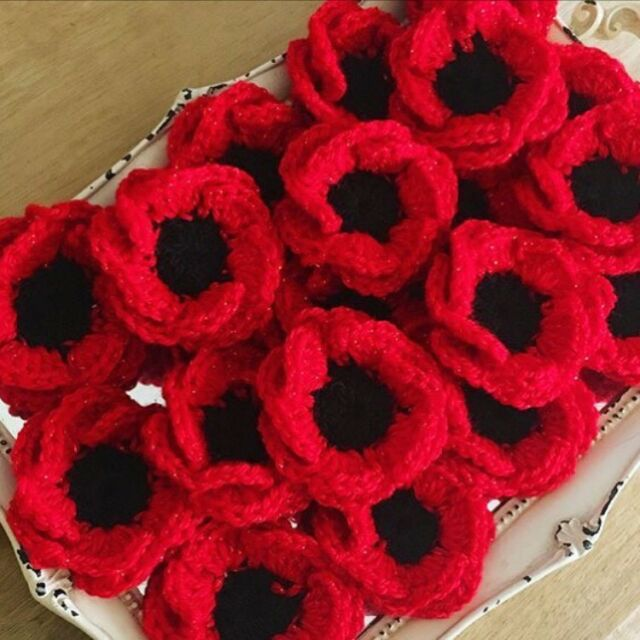 Handmade Red Crochet Poppy Flower Brooch Ebay