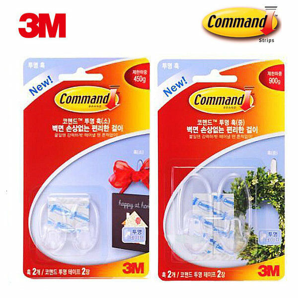 3M COMMAND 17091 & 17092 Damage-Free Hanging Med Clear Hook -  Total 10 pcs