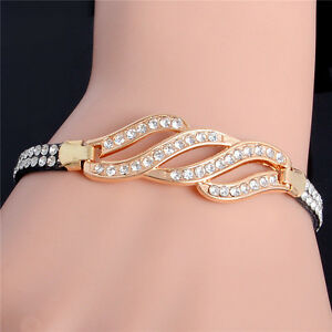 18k Gold Plated Crystal Rhinestone Handmade Cuff Leather Bangle Bracelet Jewelry