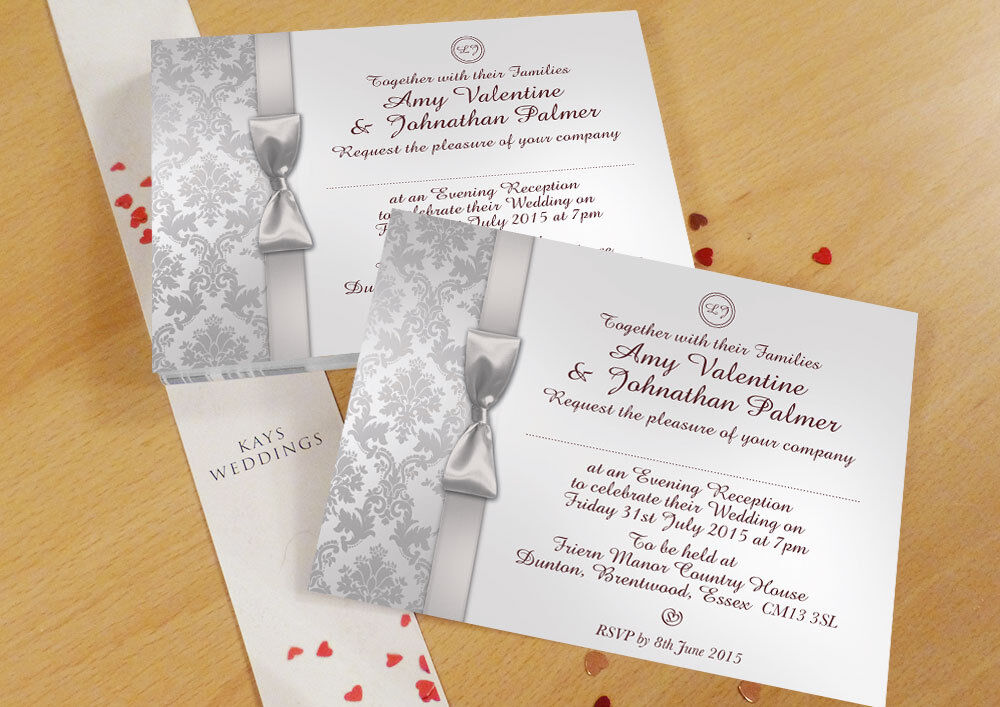 Personalizzata DAMASCATO WEDDING DAY & sera inviti Inc BUSTE & & & P&P b3ed5f