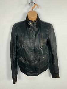 WOMENS-BERSHKA-BLACK-ZIP-UP-POCKETS-CASUAL-FAUX-LEATHER-BIKER-JACKET-COAT-SIZE-L
