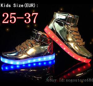 db434059915b New Boys Girls Light Up Shoes High Top Shoes Kids Children LED ...