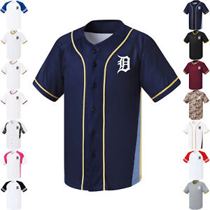 buy online 9ac20 0bfe3 Details about New Detroit Tigers Button Jersey Baseball Team Raglan Open  T-Shirts 0102 fuerza