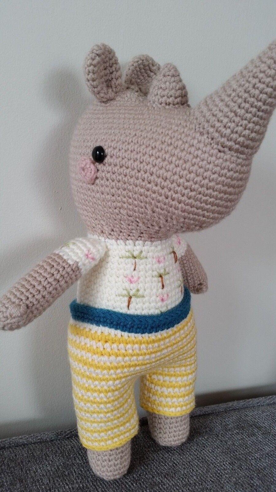 Rhino Hector Hand Made Crochet Soft Toy Rhinoceros