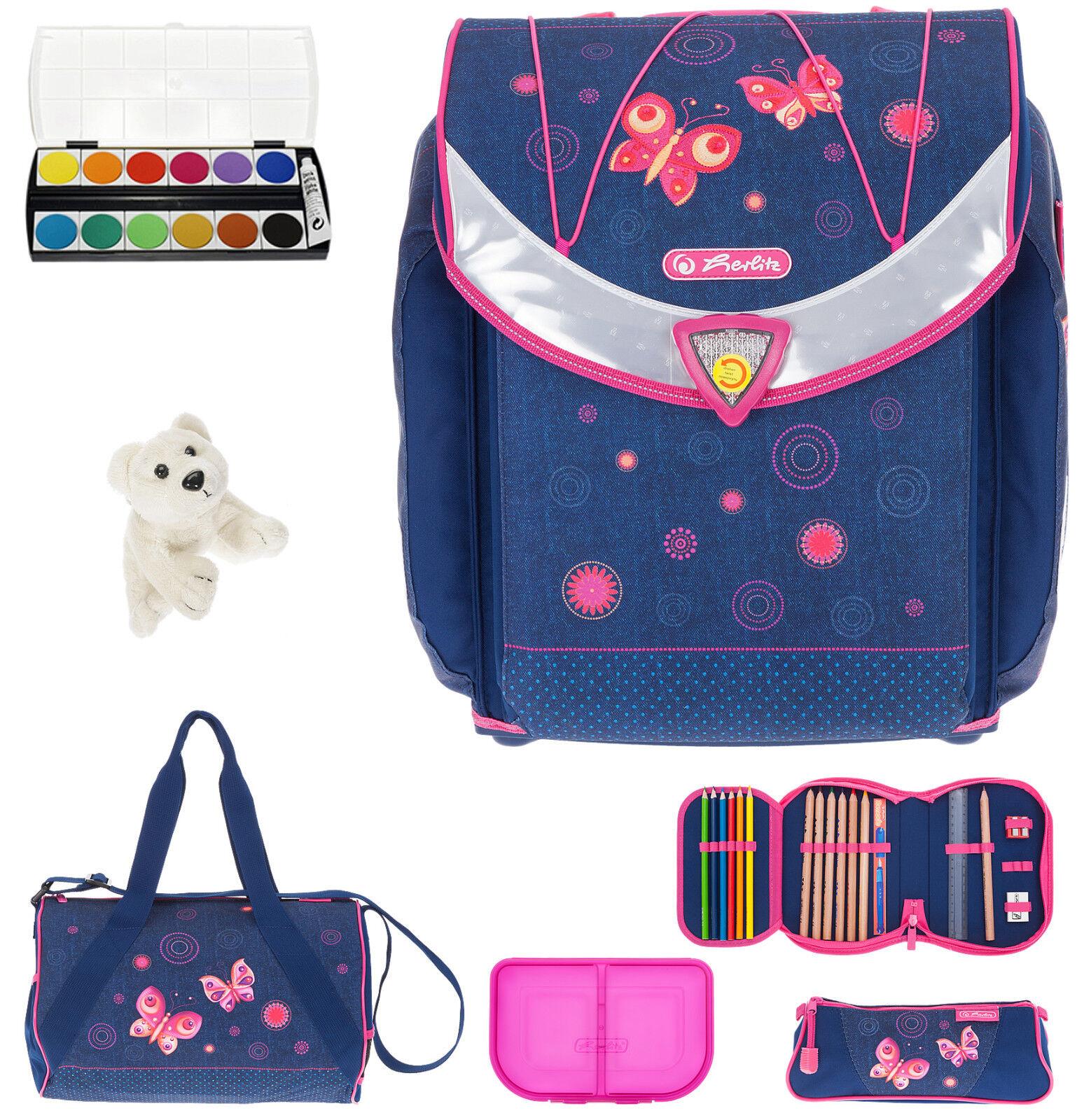 Schulranzen 7 Set Herlitz Flexi Tornister Ranzen für Mädchen Butterfly Dreams ek | Modern Und Elegant  | Gute Qualität  | Verschiedene Stile