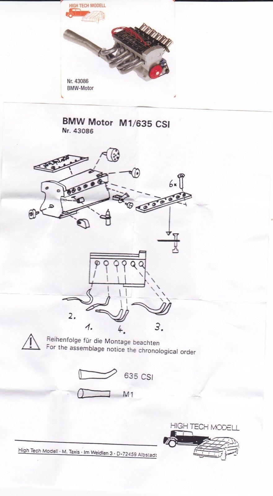 BMW M1   635  Motor  1 43 Kit   Bausatz   High Tech Modell