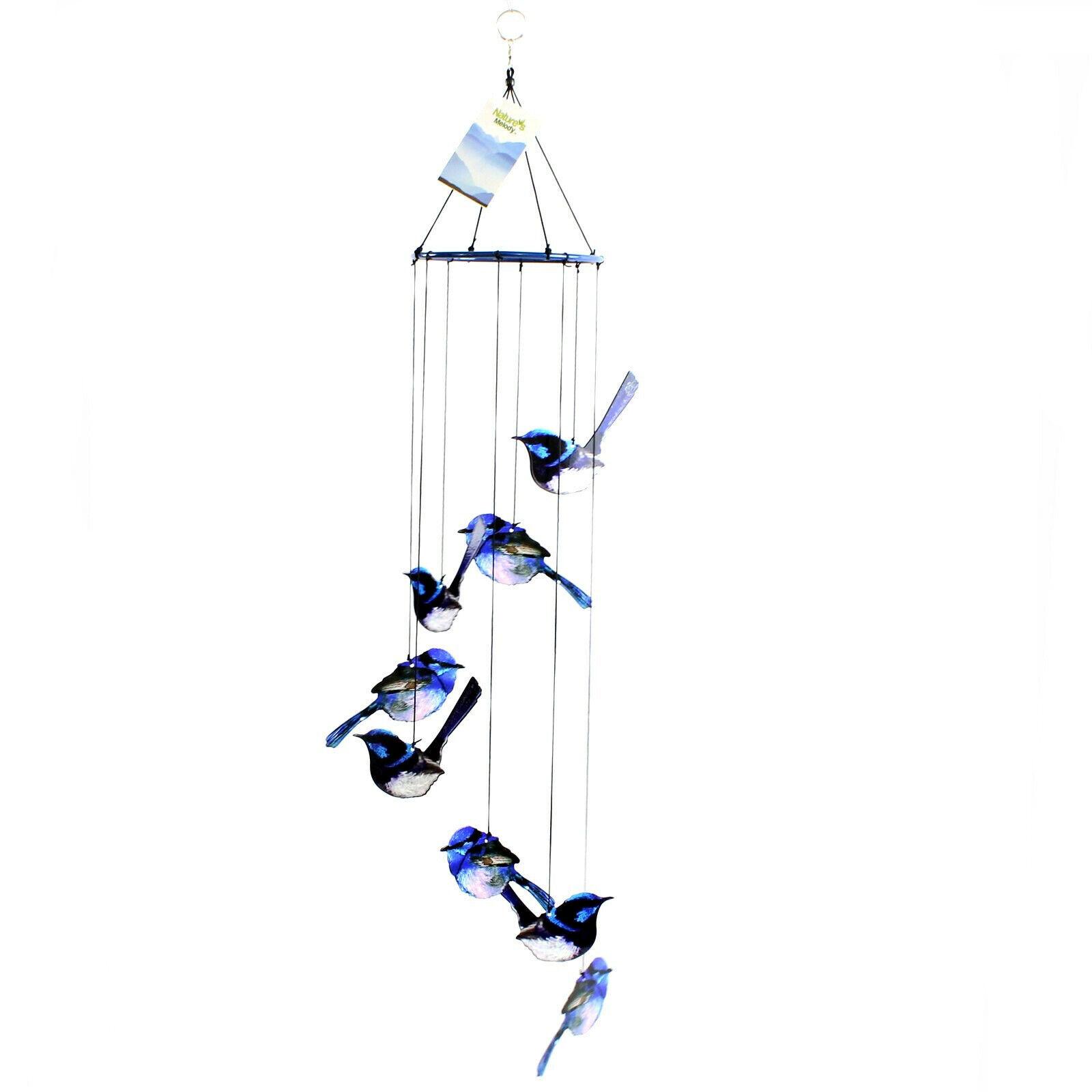 8 Blue Fairy Wren Australia Fauna Metal Wind Chime Hanging Birds Natures Melody