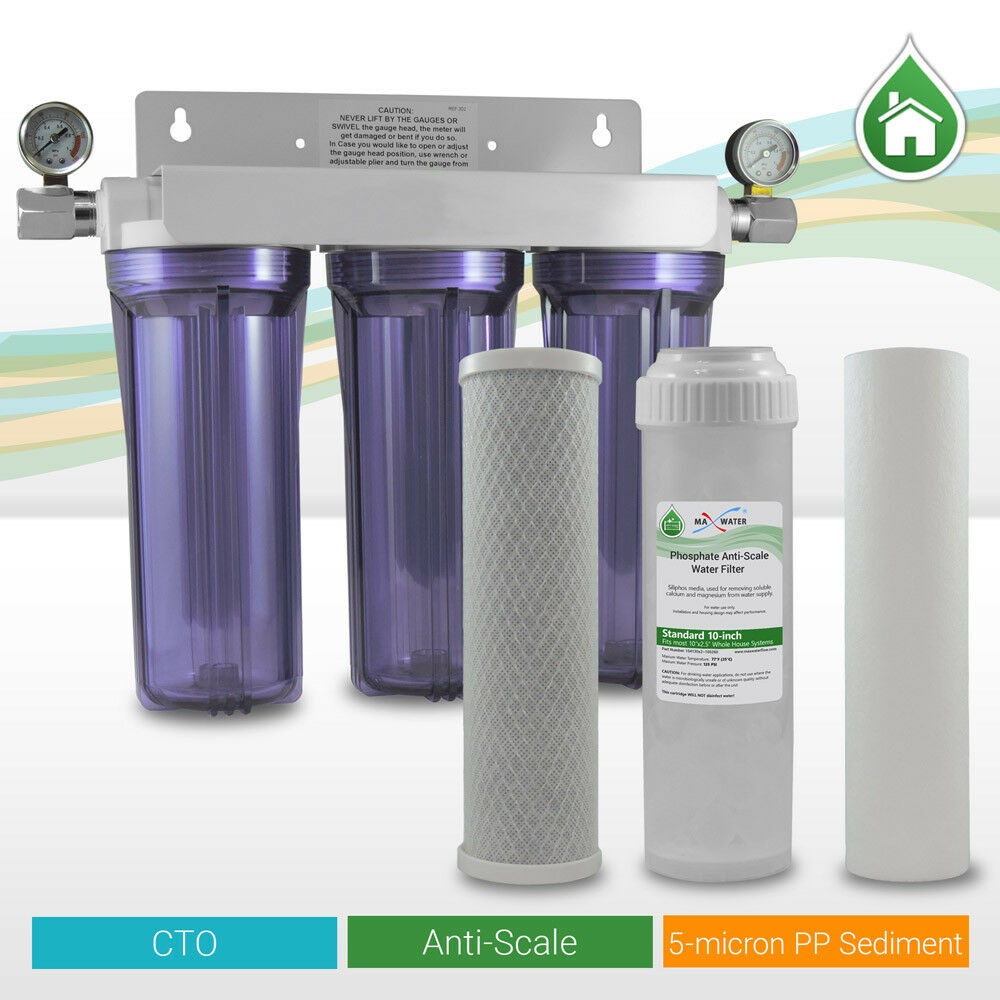 3 Stage lime Anti Scale Inhibiting 10  Clear Whole House Water Filtration System