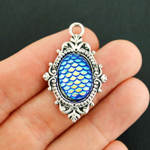 4 Mermaid Scale Charms Antique Silver Tone Setting Royal Blue Color Z764
