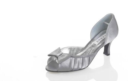 Blu Royal /& Ivory Grigio Ladies Lexus Tacco Medio /'d/' Fit scarpa con Fiocco-Nero