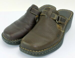 Born-brown-leather-Mules-Clogs-Slip-ons-Wedge-size-10-women-039-s-euc