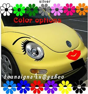 Any Car EYELASHES Face Set Eyes Brow Red LIPS bumper ...