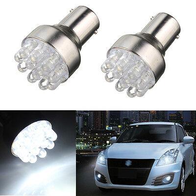 2Pcs 1156 BA15S 1W 12 LED White Turn Signal Light Car Tail Stop Lamp Bulb 12V