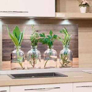 Küchenrückwand Glas Küche Motiv Kräuter Holzoptik ...