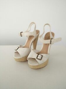 Women-039-s-Dorothy-Perkins-white-leather-straw-buckle-strap-high-heels-shoes-UK-5