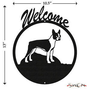 Boston-Terrier-Black-Metal-Welcome-Sign-NEW