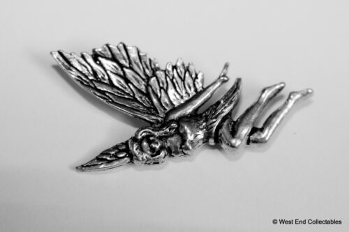 British Artisan Signed Badge Tooth Fairy Flying Fairy Pewter Brooch Pin