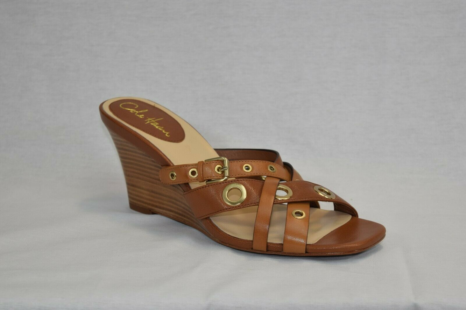 Cole Haan Air Whitney TAN Leather Slide Wedge Sandals shoes Sz 8 B