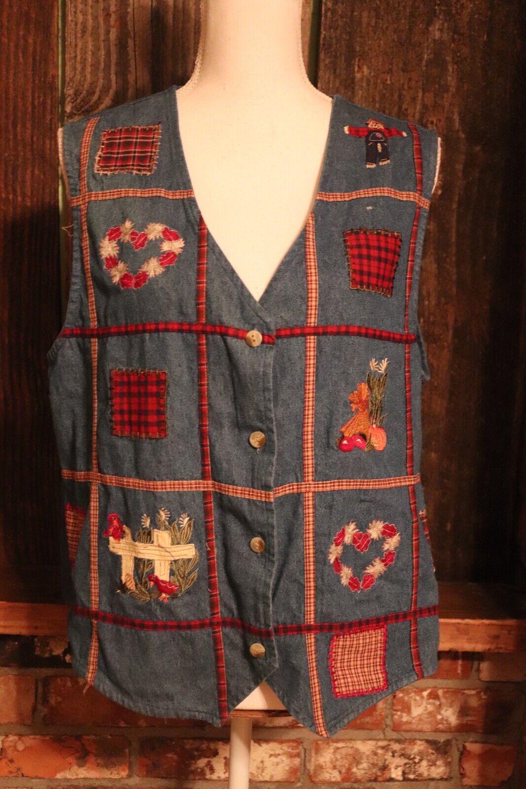 Bobbie Brooks Women's Large Denim Button Down Vest Fall Cute