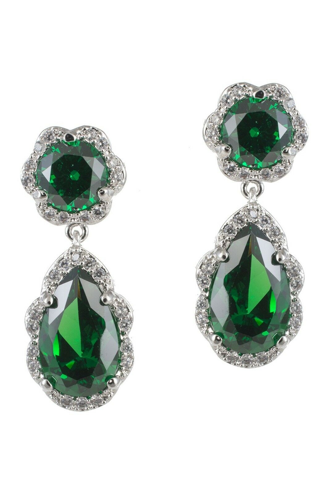 Kenneth Jay Lane Green CZ Pear Shaped Dangle Earrings NWT  225