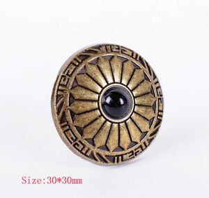 10X-Vintage-Ethnic-Flower-Brass-Leathercraft-Conchos-Button-Screwback-Black-Bead
