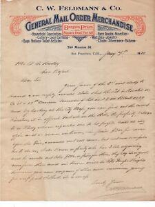 1910-Color-Letterhead-C-W-Feldman-General-Mail-Order-Merchandise-San-Francisco