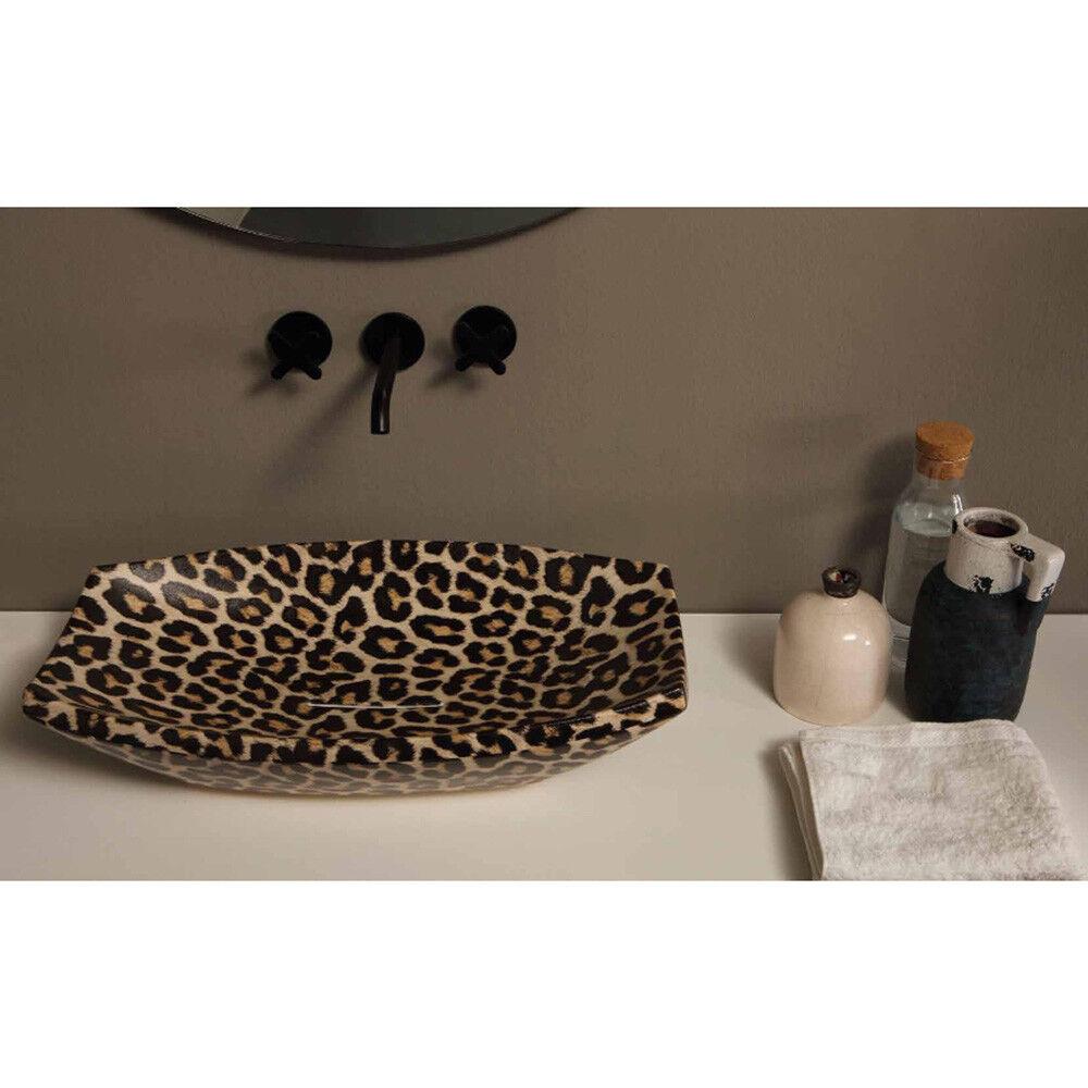 Lavandino Lavabo da appoggio Moderno Shakia in ceramica, 5 decori disponibili