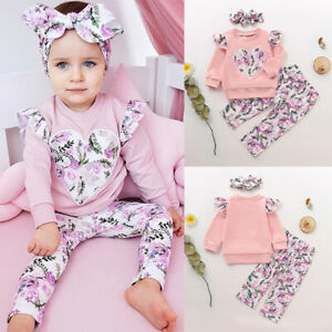 Kids-Baby-Girls-Long-Sleeve-Tops-Pants-Headband-Floral-Printed-3Pcs-Outfits-Set