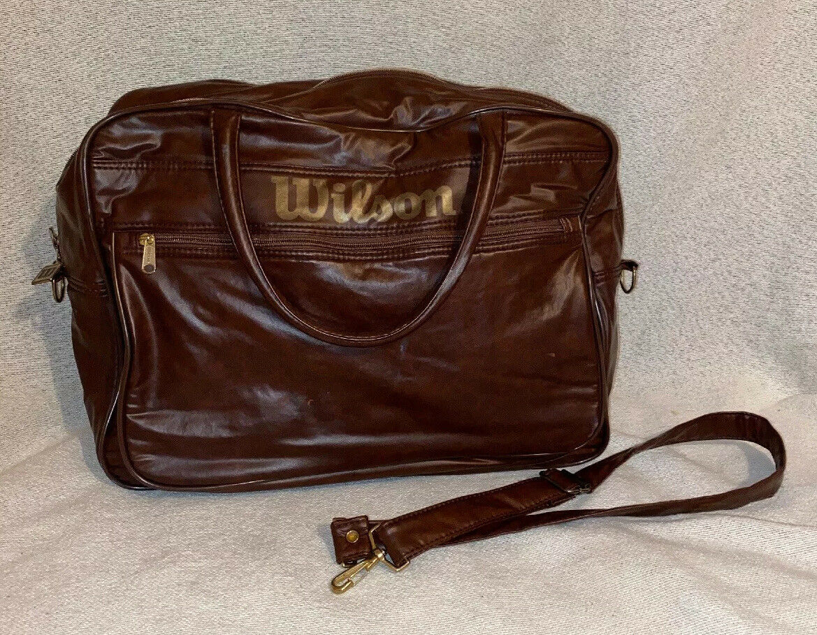 Vintage Wilson Tennis Gym Bag braun Vinyl Waterproof Shiny Travel Carry On