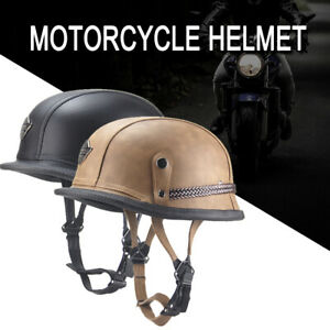 Men-039-s-Motorcycle-Helmet-German-Style-Leather-Biker-Riding-Open-Face-Half-Helmet