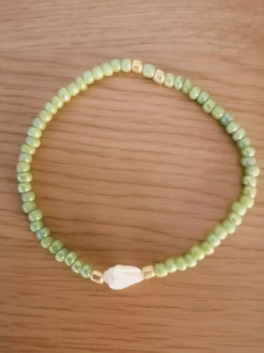 REAL SHELL BEAD ANKLET SEED BEAD ANKLE BRACELET CHOOSE COLOUR /& SIZE