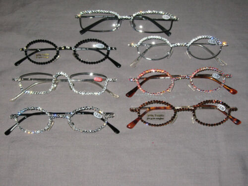 Swarovski Crystal Jeweled Reading Glasses +3.50 Bling Wire Frames NEW!