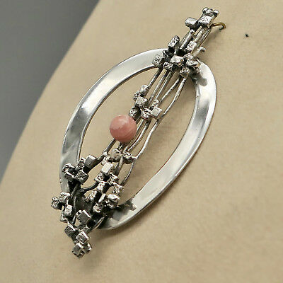 Brosche Auch Anhänger Silber 835 Rhodochrosit Ausdauernd Schmuck- Design Der 70er